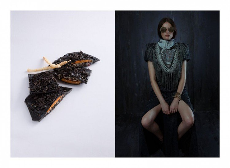 Sweet potato, black fungi, black seaweed and ricotta-filled squid ink ravioli topped with fried basil seeds and black sesame seeds, garnished with parmesan crisp inspired by Kathryn Beker. Gown by Kathryn Beker, scarf by Swash London, sunglasses by Cutler and Gross, cuff by Yunus & Eliza, all accessories from Christine.